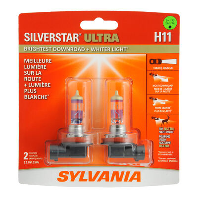 SYLVANIA H11 SilverStar ULTRA Halogen Headlight Bulb, 2 Pack