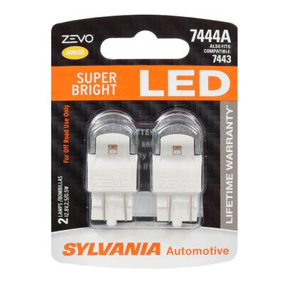 SYLVANIA 7444 AMBER ZEVO LED Mini Bulb, 2 Pack