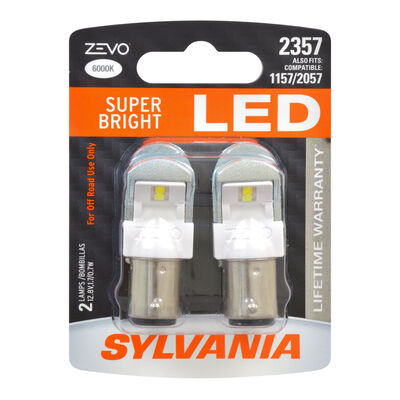 SYLVANIA 2357 WHITE ZEVO LED Mini, 2 Pack